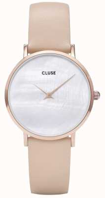 CLUSE Minuit La Perle White Pearl Dial Nude Leather Strap CL30059