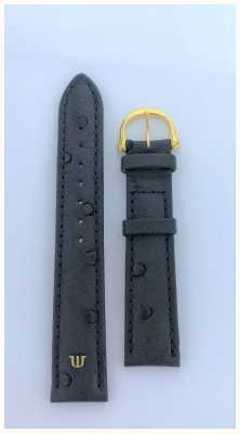 Maurice Lacroix | 18mm Black Ostrich Leather Strap Gold Tone | No Buckle ML650-000003