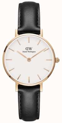 Daniel Wellington Ladies Petite Classic Black Leather Watch Rose Gold Case DW00100230