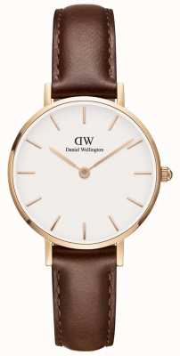 Daniel Wellington Ladies Classic Petite Brown Leather Watch Rose Gold Case DW00100231