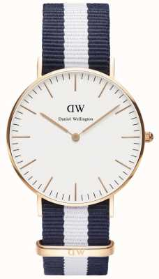 Daniel Wellington Mens Classic Glasgow Watch Rose Gold Case DW00100031