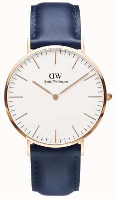Daniel Wellington Mens Classic Somerset Blue Leather Watch DW00100121