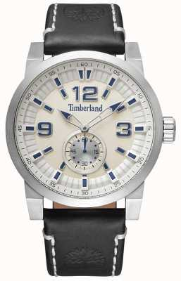 Timberland Mens Duxbury Black Leather Strap Beige Dial TBL.15475JS/07