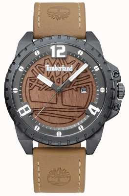 Timberland Mens Eastford Light Brown Leather Black Case Brown Wood Dial TBL.15513JSU/12