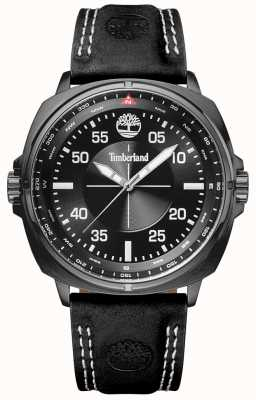 Timberland Mens Williston Black Leather Strap Black Dial TBL.15516JSU/02