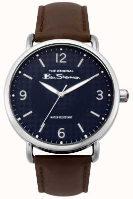 Ben Sherman Ben Sherman Matt Navy Dial Dark Brown Strap Silver Steel BS015BR