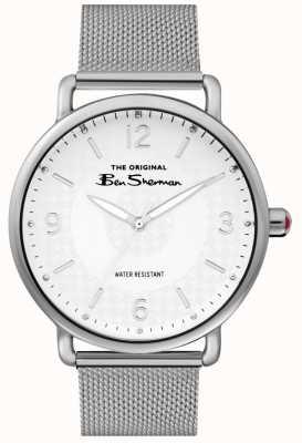 Ben Sherman Mens Matt White Dial Silver Steel Mesh BS015SM