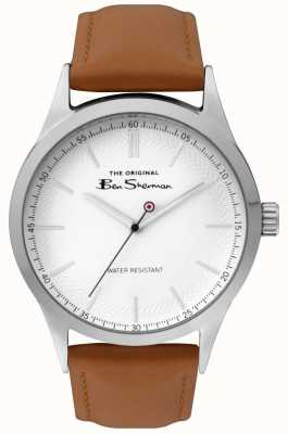 Ben Sherman Mens Matt White Dial Tan Strap Silver Steel Case BS016T
