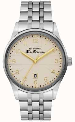 Ben Sherman Mens Off White Dial Silver Case Stainless Steel Bracelet BS017GSM