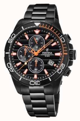 Festina Mens Black PVD Plated Bracelet Black Chrono Dial Watch F20365/1