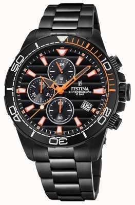 Festina Men's Black PVD Plated Bracelet Black Chrono Dial Watch F20365/1