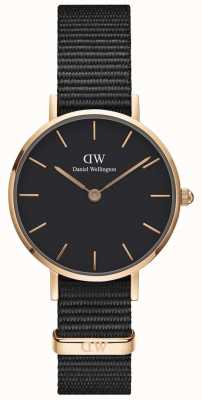 Daniel Wellington Ladies Classic Petite Cornwall Black Watch Rose Gold Case DW00100247
