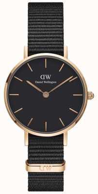 Daniel Wellington Women's Classic Petite Cornwall Black Watch Rose Gold Case DW00100247