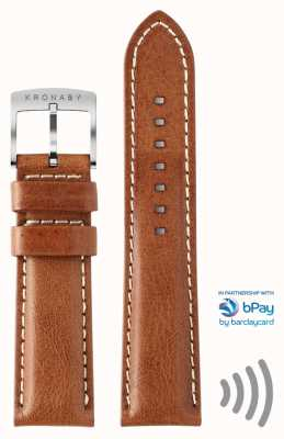 Kronaby bPay 20mm Brown Leather Contactless Payment Strap Only A1000-3360