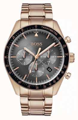 Hugo Boss Mens Trophy Watch Grey Chronograph Dial Rose Gold Tone 1513632