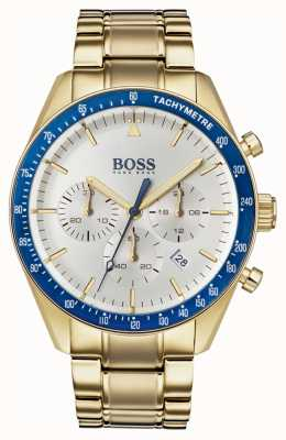 Hugo Boss Mens Trophy Watch White Chronograph Dial Gold Tone 1513631