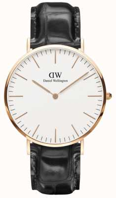 Daniel Wellington Unisex Classic Reading 40mm Rose Gold Black Leather DW00100014
