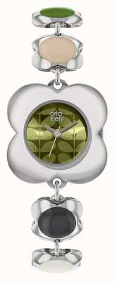 Orla Kiely Womens Poppy Enamel Chain Link Stainless Steel Watch OK4077