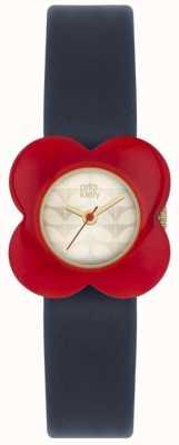 Orla Kiely Womens Blue Strap Red Poppy Case Watch OK2208