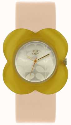 Orla Kiely Womens Pink Strap Yellow Poppy Case Watch OK2206