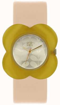 Orla Kiely Womens Pink Strap Yellow Poppy Case Watch OK2206
