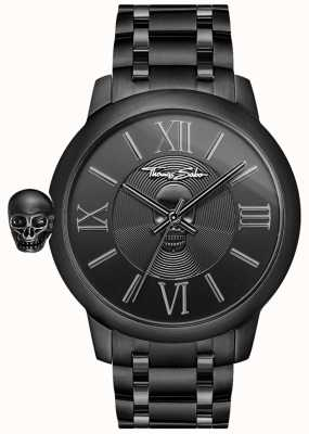 Thomas Sabo Men's Rebel With Karma Black IP Stainless Steel Skull Watch WA0305-202-203