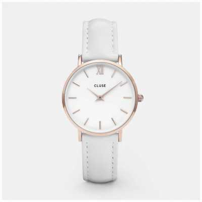 CLUSE Minuit Rose Hold Case White Dial And Strap CL30056