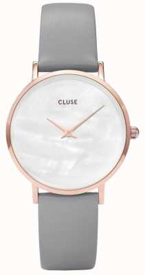 CLUSE Minuit La Perle White Pearl Dial Grey Leather Strap CL30049