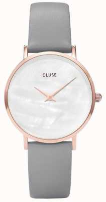 CLUSE Minuit La Perle White Pearl Dial Grey Leather Strap CW0101203016