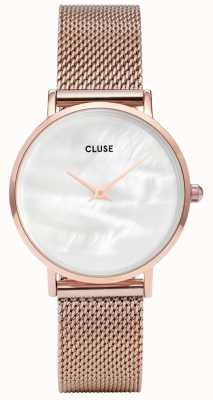CLUSE Minuit La Perle White Pearl Dial Rose Gold Mesh CW0101203008