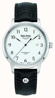 Bruno Sohnle Mens Hamburg Big Quartz White Dial Black Leather Strap 17-13201-921