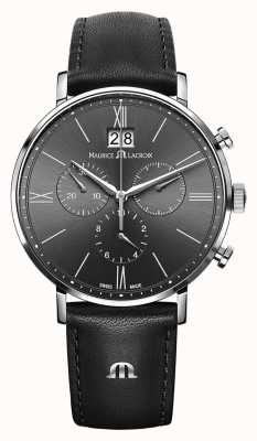Maurice Lacroix Mens Eliros Chronograph Black Leather Strap Grey Dial EL1088-SS001-811-1