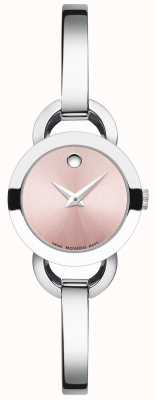 Movado Womens Rondiro Stainless Steel Bangle Pink Dial 0606797