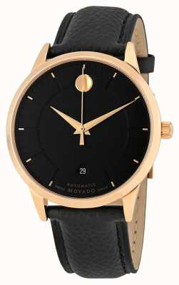 Movado Mens 1881 Automatic Rose Gold Plated Leather Strap 0607062
