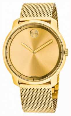 Movado Mens Bold Gold Plated Mesh Bracelet 3600373