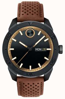 Movado Mens Bold Black Dial Brown Perforated Leather Strap 3600496