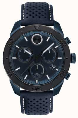 Movado Mens Bold Chronoraph Blue Perforated Leather Strap 3600516