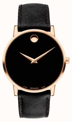 Movado Men's Museum Black Leather Strap Gold Plated Case 0607196