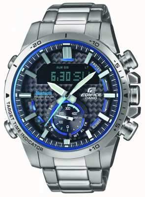 Casio Edifice Bluetooth Lap Timer Stainless Steel Blue Accents ECB-800D-1AEF