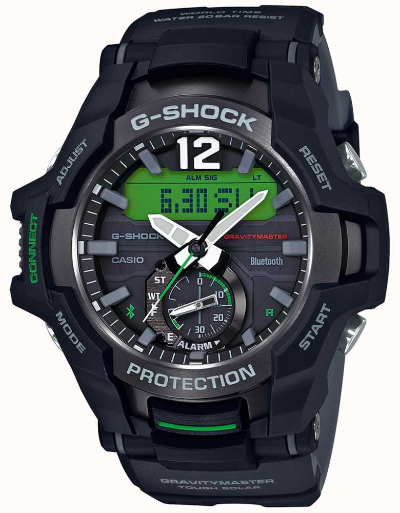 74b09e4b3043 Casio G-Shock Gravitymaster Bluetooth Solar Black/Green Rubber GR ...