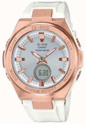 Casio G-MS Baby-G Rose Gold Tough Solar White Strap MSG-S200G-7AER