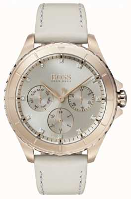 BOSS Womens Premiere Gold Plated Case Beige Leather Strap 1502447