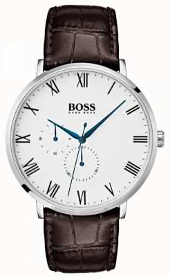 Hugo Boss Men's William Classic Brown Leather White Dial 1513617
