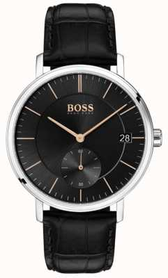Hugo Boss Corporal Men's Black Leather Strap Black Dial 1513638