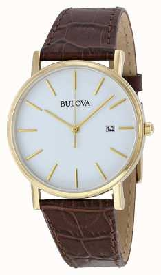 Bulova Men's Classic Brown Leather Watch 97B100