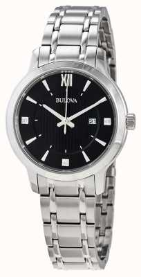 Bulova Women's Stainless Steel Crystal Set Dress Watch 96P185