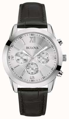 Bulova Men's Classic Chronograph Black Leather Watch 96A162