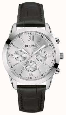Bulova Men's Classic Chronograph Black Leather Watch 96A162