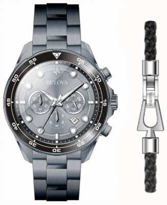 Bulova Men's Black PVD Plated Watch And Bracelet Gift Set 98K104