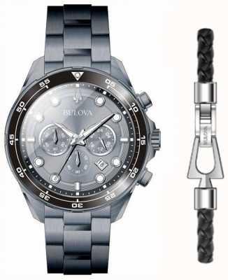 Bulova Men's Black PVD Plated Watch And Bracelet Gift Set 98K104